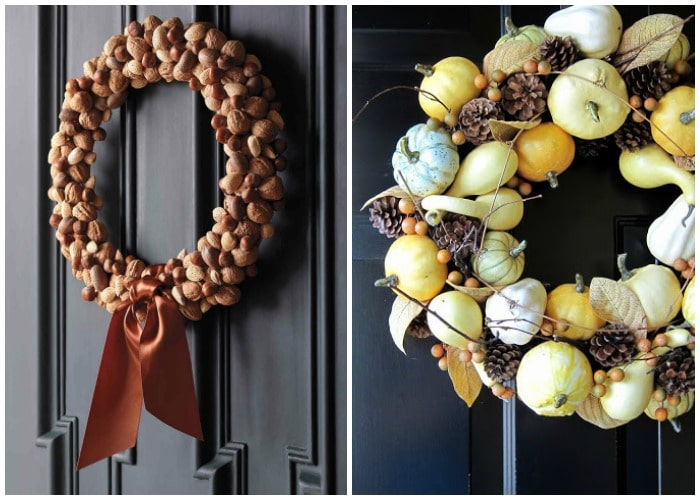 two thanksgiving wreaths hanging on dark doors