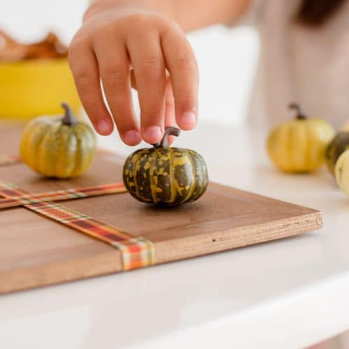 Thanksgiving Activities - A Child playing Tic Tac Toe with Pumpkins