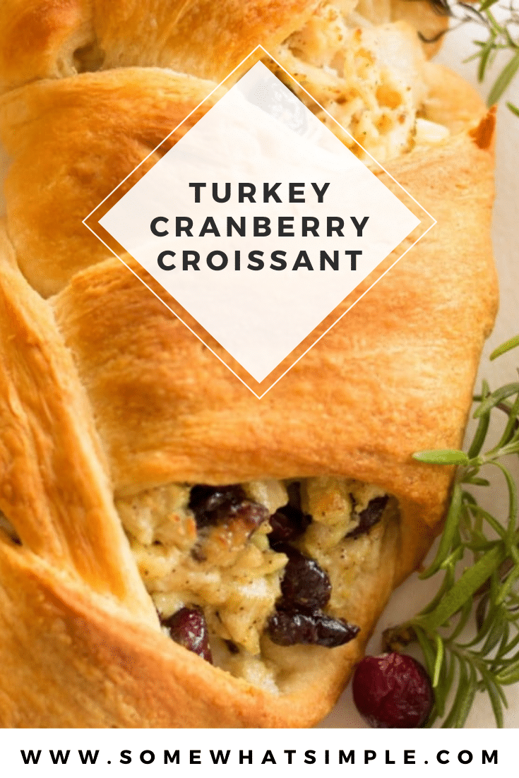 These turkey cranberry croissant wreaths are a festive and delicious way to enjoy the Thanksgiving season. They're made with turkey, fresh cranberries and other delicious ingredients all wrapped up in a warm croissant wreath. This is a perfect recipe for any turkey leftover from Thanksgiving dinner. via @somewhatsimple