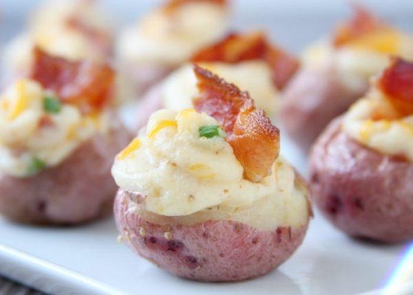 Twice Baked Potato Bites on a serving tray