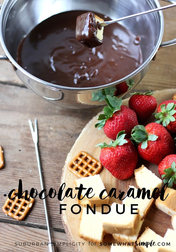 Chocolate Caramel Fondue is a decadently good dessert the whole family will enjoy!