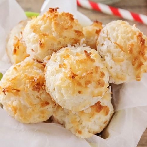 These sweet coconut macaroons are the perfect combination of crisp and chewy, and so rich and delicious! Only five ingredients and so simple to make!