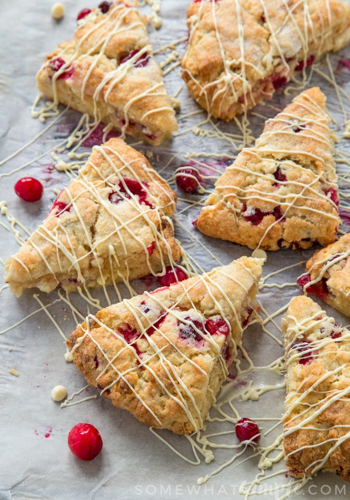 Soft and crumbly scones filled with fresh cranberries and chunks of oozing white chocolate. The perfect festive breakfast!