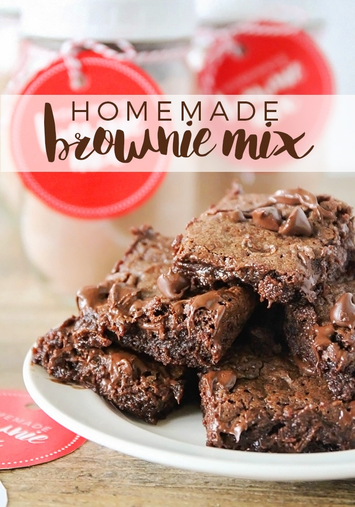 This rich and fudgy homemade brownie mix is so easy to make, and perfect for holiday gifts! Add a mason jar and a cute gift tag, and you're all set!