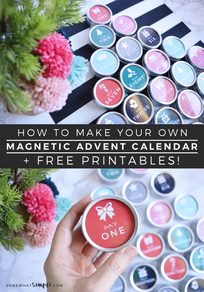 Magnetic advent calendar diy tutorial free printables for Make your own christmas countdown calendar