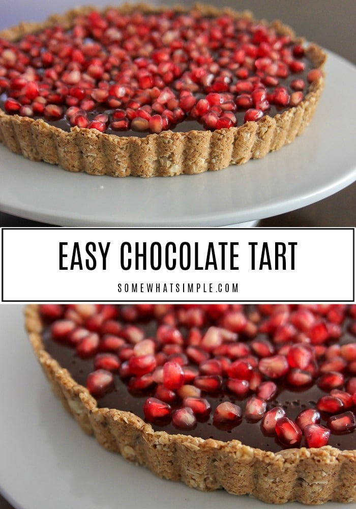 This rich chocolate tart topped with pomegranate seeds is an easy and beautiful dessert to bring to any holiday party! #pomegranate #dessert #easydessert #chocolate #tart  via @somewhatsimple