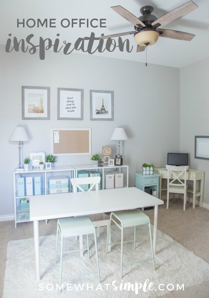 A peek inside a simple home office with links to all sources if you'd like to recreate a similar space of your own! via @somewhatsimple