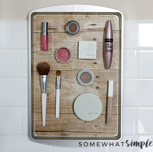 DIY Magnetic Makeup Organizer from a Dollar Store Cookie Tray