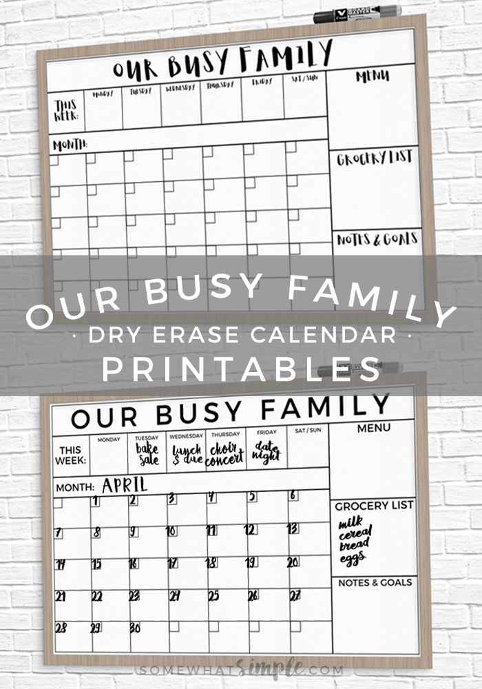 picture about Printable Whiteboard referred to as Dry Erase Relatives Calendar Printable + Uncomplicated Guideline