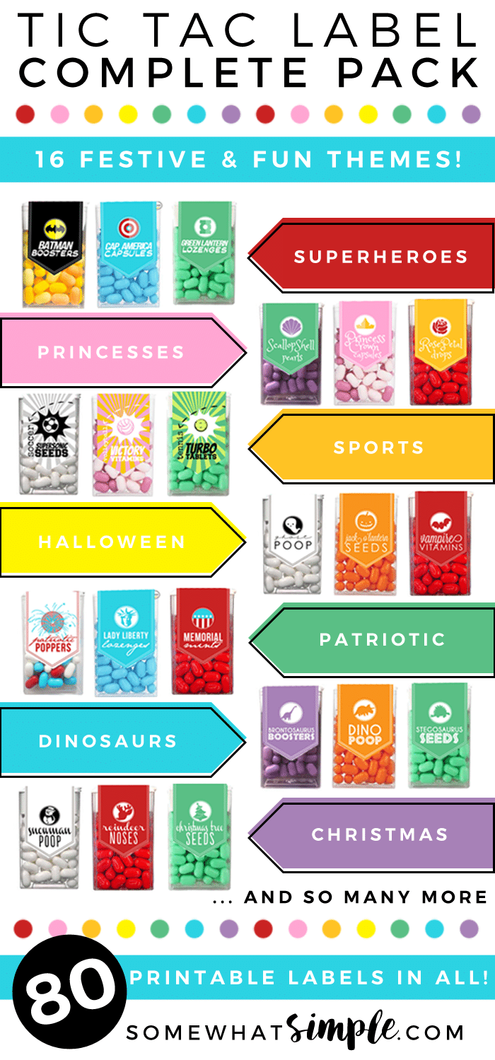These Tic Tac Labels make the perfect little gifts and party favors! 16 themes with 80 labels total! via @somewhatsimple