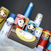 a full Christmas toilet paper roll nativity craft set
