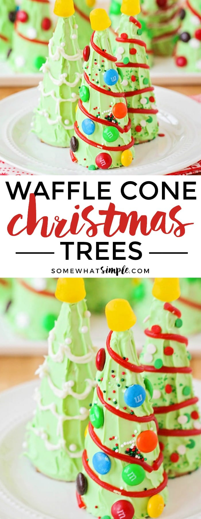 Looking for some Christmas Snacks to make with the kids? They will LOVE making their veryown waffle cone Christmas tree!