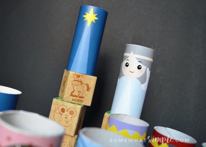 Christmas craft nativity made out of toilet paper rolls