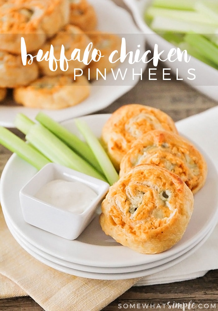 These savory and delicious buffalo chicken pinwheels are simple and easy to make, and perfect for game day or entertaining with friends!