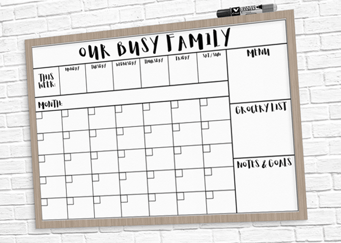 photo regarding Printable Whiteboard named Dry Erase Relatives Calendar Printable + Uncomplicated Guide