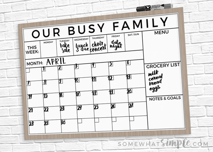 image relating to Printable Whiteboard named Dry Erase Household Calendar Printable + Straightforward Guidebook