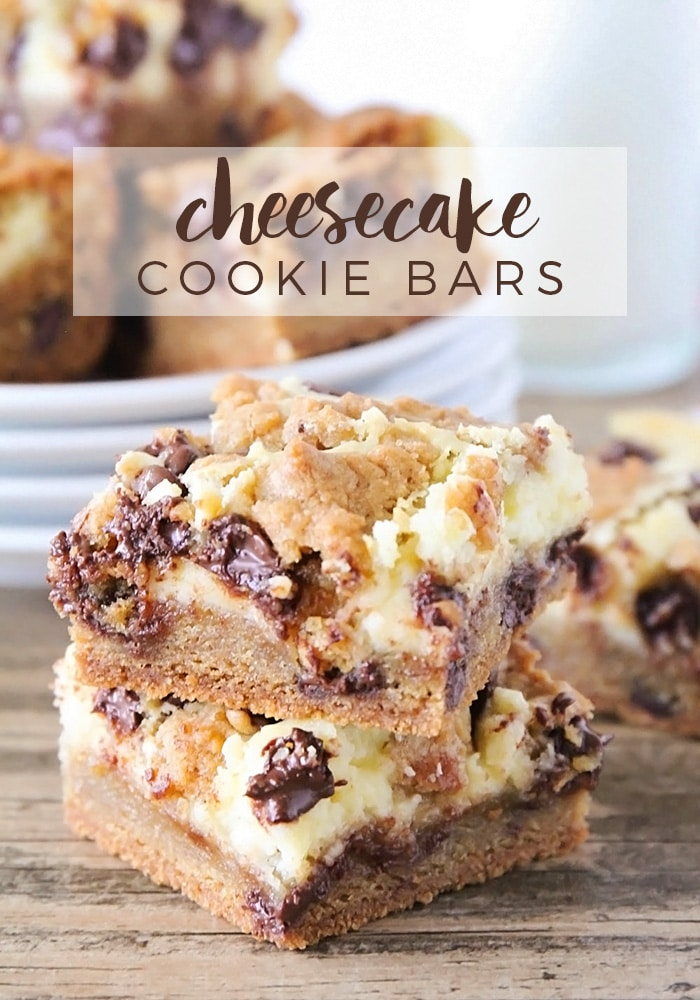 These cheesecake cookie bars will quite possibly be the best thing you have ever tasted!  Made with a chewy base of chocolate chip cookies and topped with a delicious cream cheese blend, this easy recipe is simply irresistible. #cheesecakecookiebars #easycheesecakecookiebars #cheesecakecookiebarrecipe #howtomakecheesecakecookiebars #chocolatechipcheesecakecookiebars via @somewhatsimple