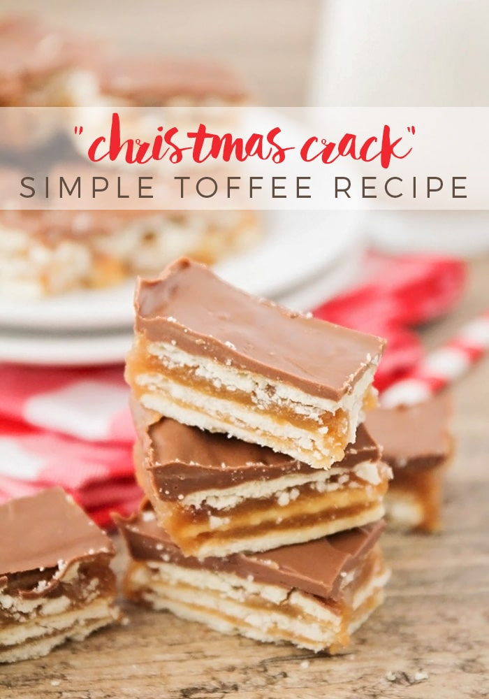 Christmas crack toffee is a simple recipe that is one of my family's favorite Christmas treats! Made with club crackers, brown sugar and chocolate, this salty sweet dessert is addictingly delicious!  #christmascrack #christmascrackrecipe #christmascrackersaltinetoffee #toffeemadewithclubcrackers #crackertoffeebars via @somewhatsimple