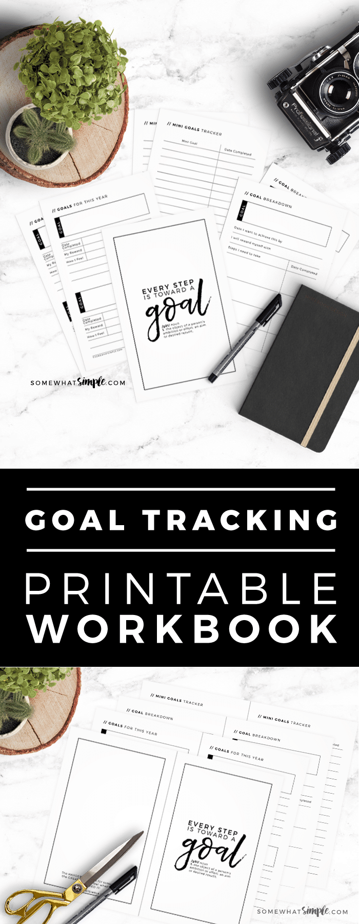 Looking for the perfect goal tracker?! Goal setting can be tricky, so we've created this beautiful and simplePrintable Goal Journal to help you make (and keep!) those New Year's Resolutions! via @somewhatsimple
