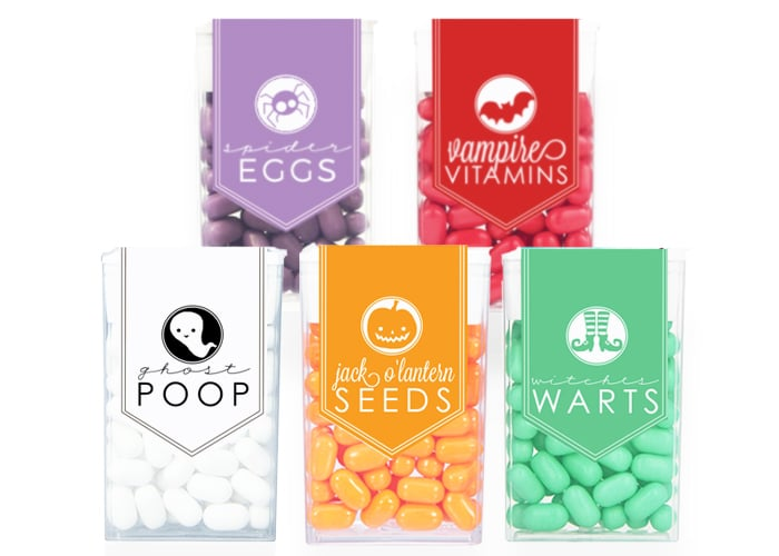 halloween tic tac labels that are purple, red, white, orange and green