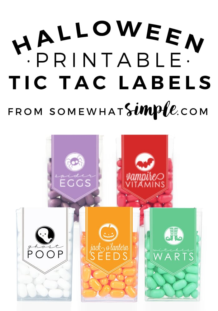 These Tic Tac Halloween Labels are easy, inexpensive and super cute!  Perfect for a Halloween party or to give out to the trick or treaters, these labels are the perfect Halloween treat.  #tictaclabels #halloweentictaclabels #tictaclabelsprintable #halloweencandy #halloweenpartyfavor via @somewhatsimple