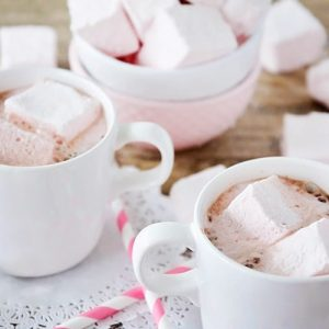 Homemade Strawberry Marshmallows in Hot Cocoa