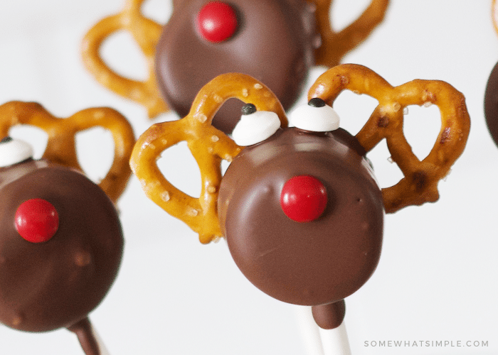 close up of reindeer marshmallow treats