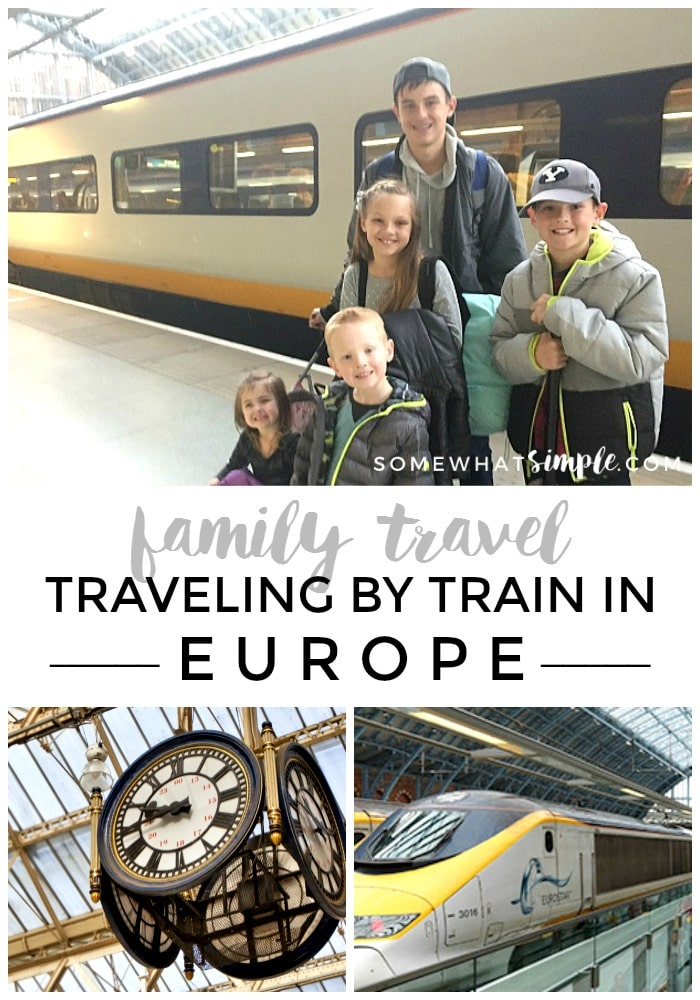 a collage of various aspects of traveling by train in Europe