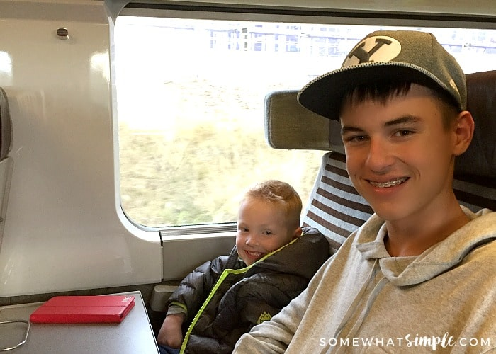 a teenager and his younger brother riding a train in Europe