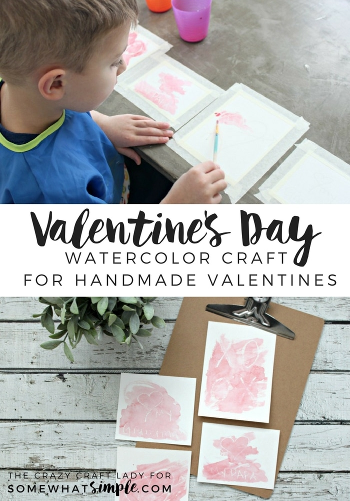 Make these simple yet adorable handmade watercolor valentine cards to give to grandparents or other loved ones this year. via @somewhatsimple