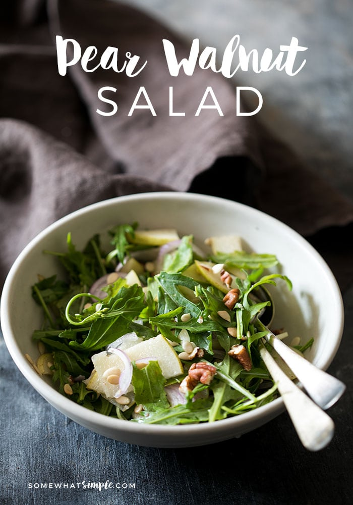This pear walnut salad is a simple, healthy salad which is crunchy, loaded with flavour and is the perfect side for a meal!