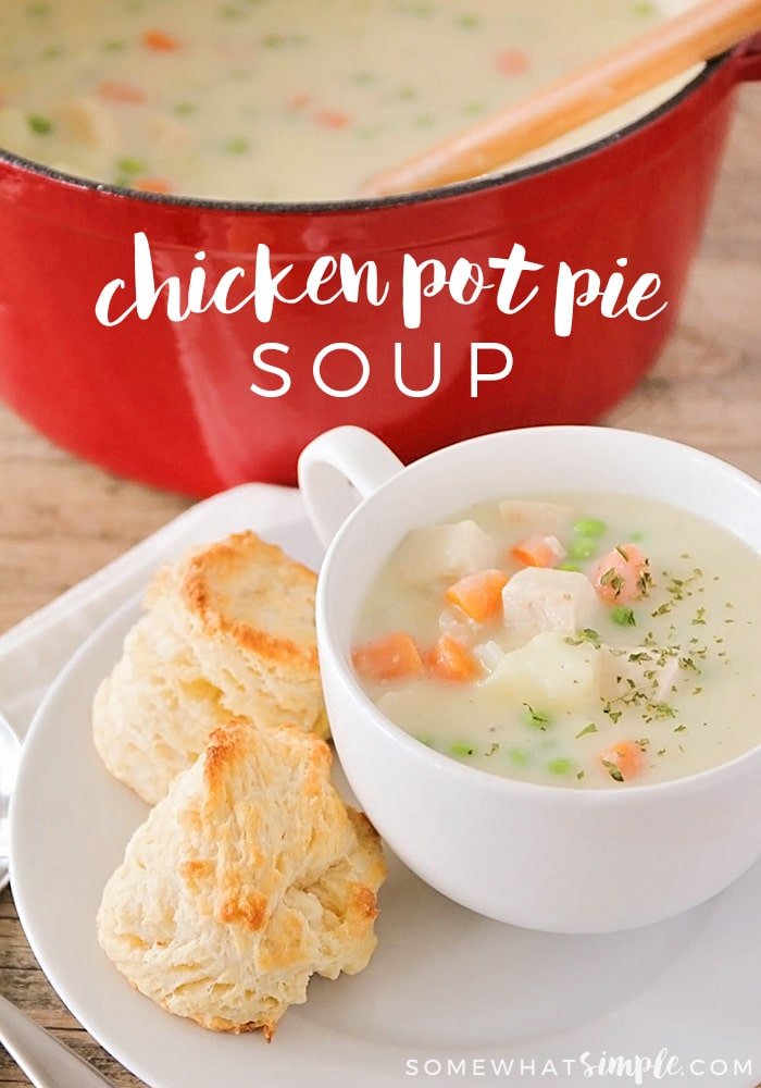 This delicious and savory chicken pot pie soup is the perfect dinner for a cold night!  Loaded with hearty vegetables, chicken and mouth-watering seasoning, this homemade soup recipe is perfect all winter long. #chickenpotpiesoup #homemadechickenpotpiesoup #chickenpotpiesouprecipe #easychickenpotpiesoup #healthychickenpotpiesoup via @somewhatsimple