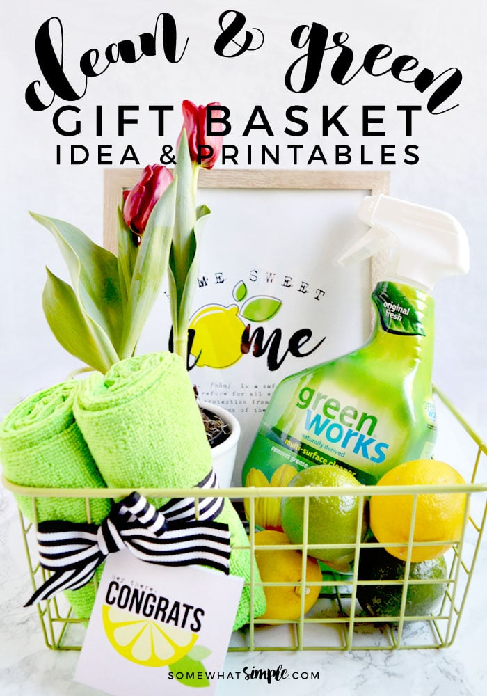 Clean and Green Gift Basket Idea and Printables via @somewhatsimple
