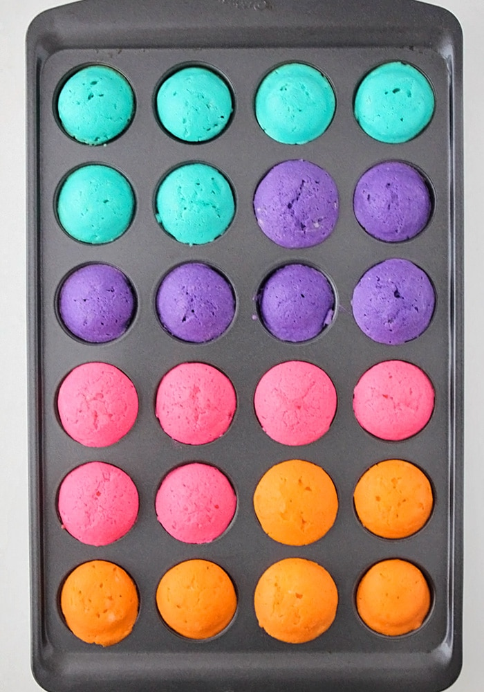 a tin full of different colored mini cupcakes