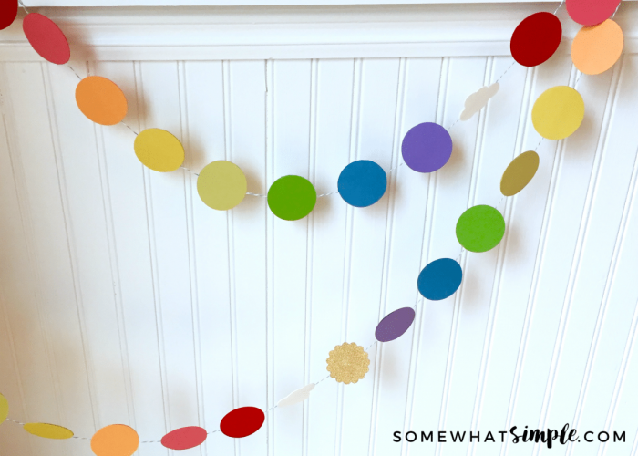 Easy No Sew Paper Rainbow Garland Somewhat Simple