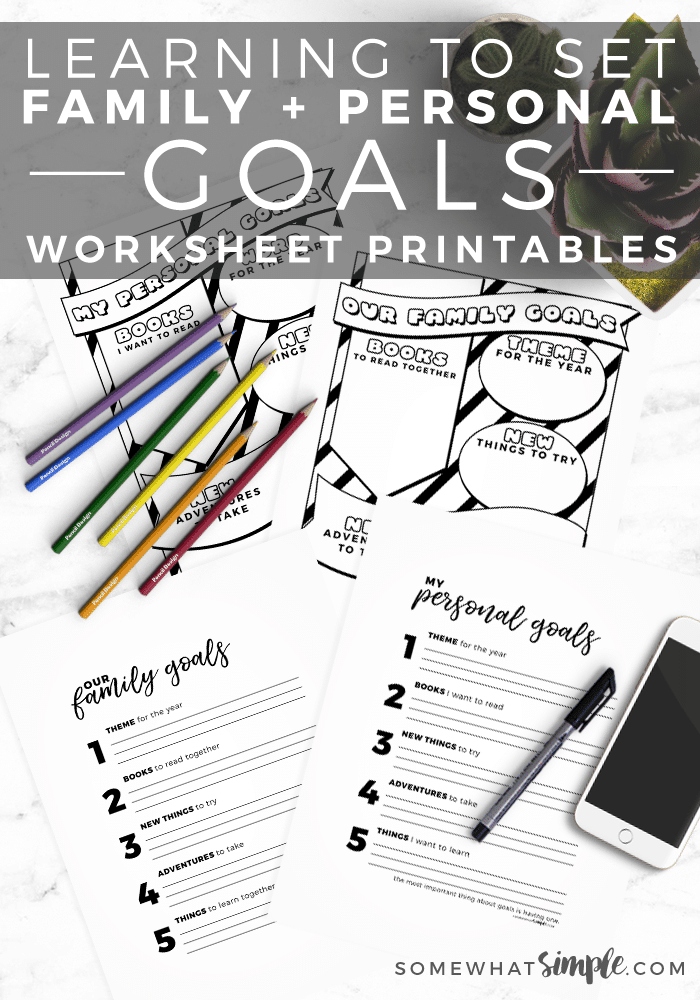 Family + Personal Goals Worksheet Printables