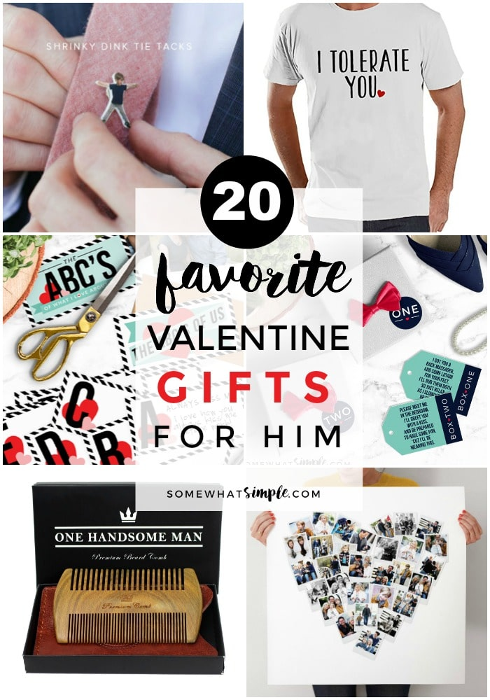 a collage of different Valentine Gifts for Him