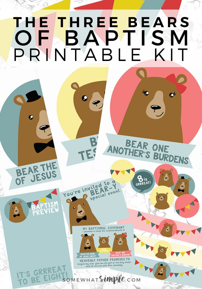 Three Bears of Baptism Printables - love how darling this kit for baptism preview night is! #printable #partyplanning #baptism #lds  via @somewhatsimple