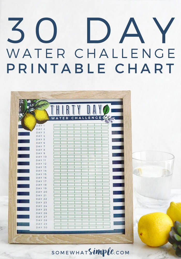 Our 30 Day Water Challenge Printable is the perfect reminder to drink more water! And it doubles as beautiful kitchen decor - bonus! via @somewhatsimple
