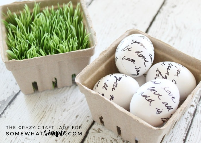 Learn how to make love letter script Easter eggs with this super simple, 2 supply, DIY tutorial. You'll love this black and white Easter egg craft!