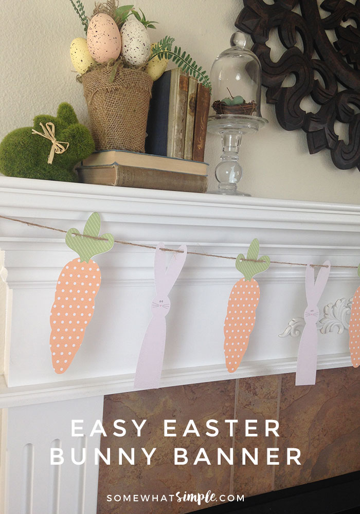 Decorate for Easter with this Easy Easter Bunny Banner that you can complete in 30 minutes or less. It's so easy you could whip one up for a friend too! via @somewhatsimple