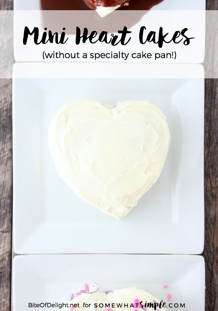 Mini Heart Cakes are made without a specialty cake pan, so you can save money and cupboard space, but still make a cute Valentine's Day dessert!