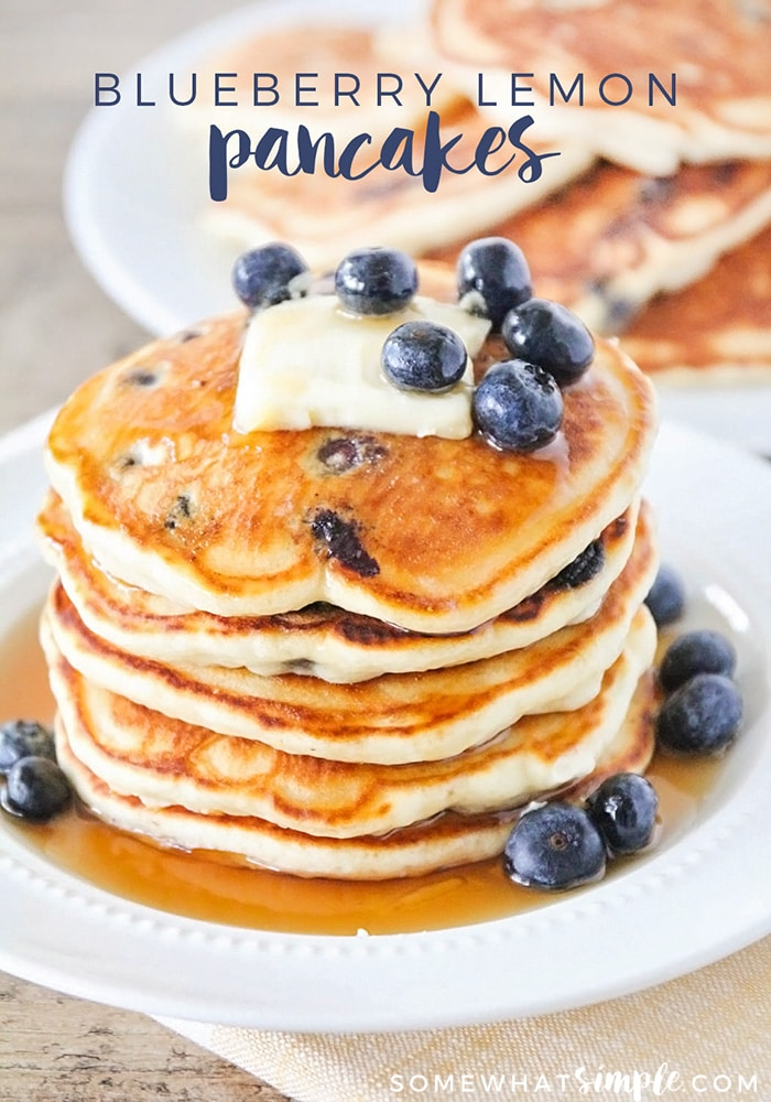 Lemon blueberry pancakes are a delicious twist on a classic breakfast.  Made with the perfect combination of sweet and sour, these pancakes are light, fluffy and bursting with fresh juicy blueberries! #lemonblueberrypancakes #lemonblueberrypancakesrecipe #easylemonblueberrypancakes #lemonblueberrypancakesfromscratch #easybreakfast #bestpancakes via @somewhatsimple