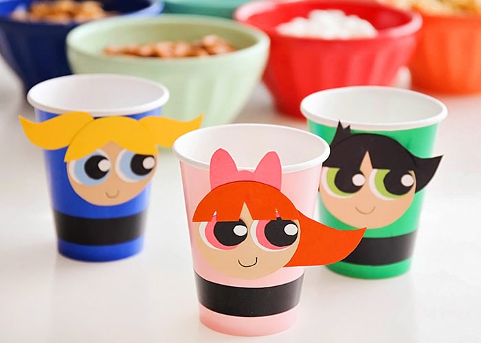 party cups that look like the powerpuff girls