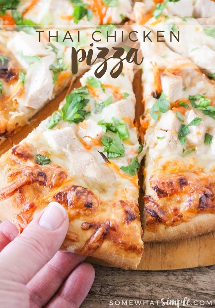 This savory and delicious thai chicken pizza is simple and quick to make, and bursting with flavor!