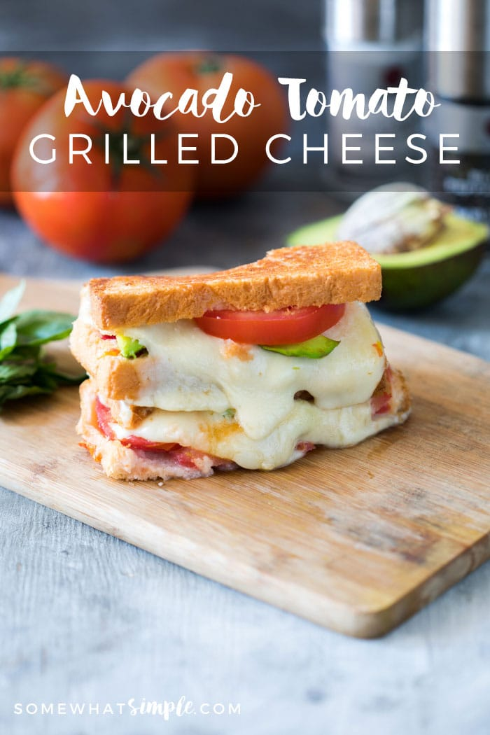 This avocado tomato grilled cheese is the best way to use up all the avocados and tomatoes that are flooding the market. Buttery avocado and gooey cheddar make this sandwich perfect for everyone!