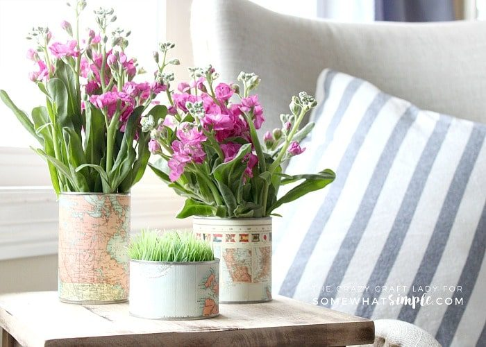 How to Make an Upcycled Tin Can Vase Using Old Maps