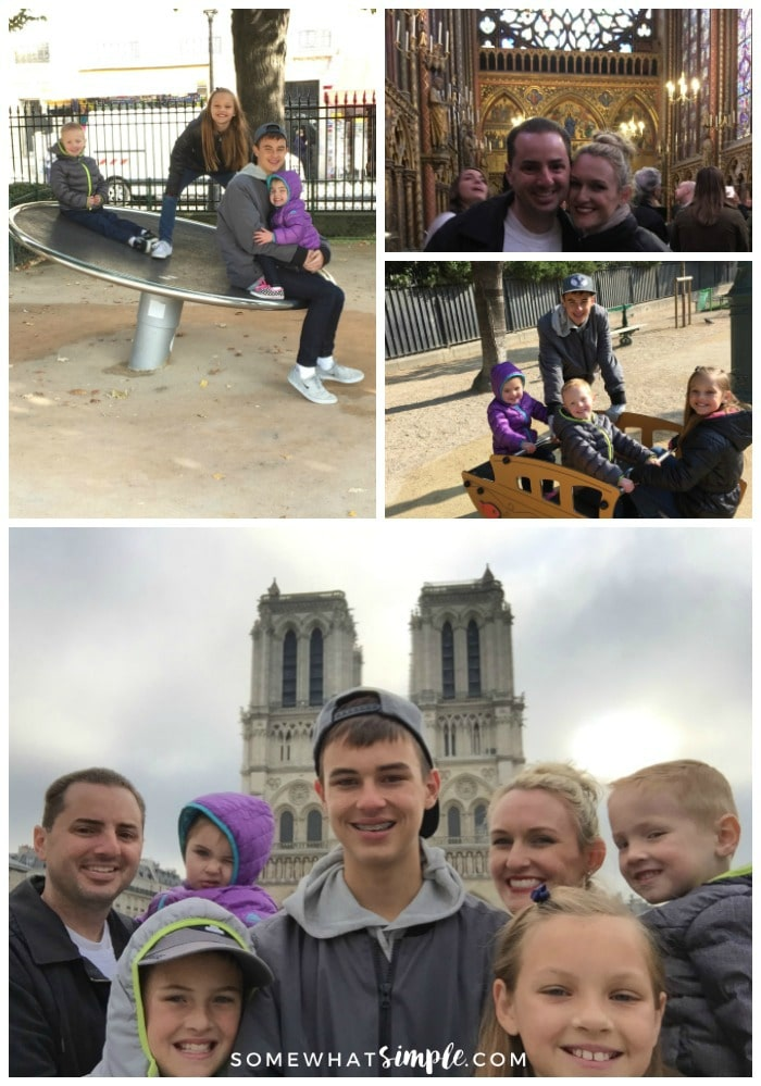 a collage featuring things to see Paris featuring pictures of children playing at the park behind Notre Dame, a beautiful couple inside Sainte-Chapelle and a family of seven in front of Notre Dame