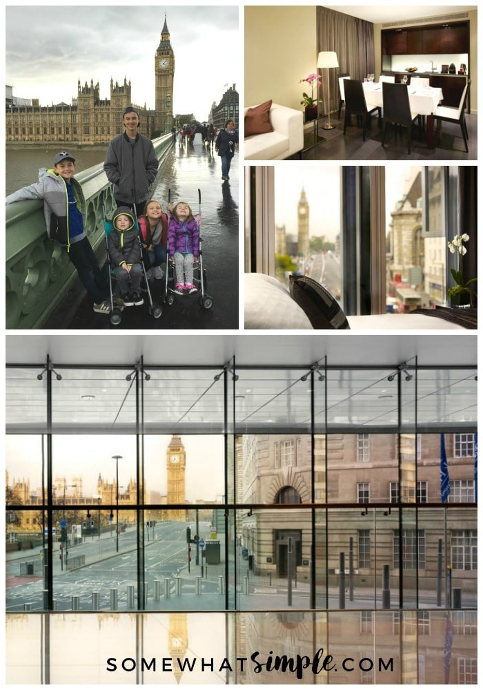 a collage featuring five children standing on the Westminster Bridge in London England with Big Ben and Parliament in the background as well as pictures of the inside of the Park Plaza hotel in London