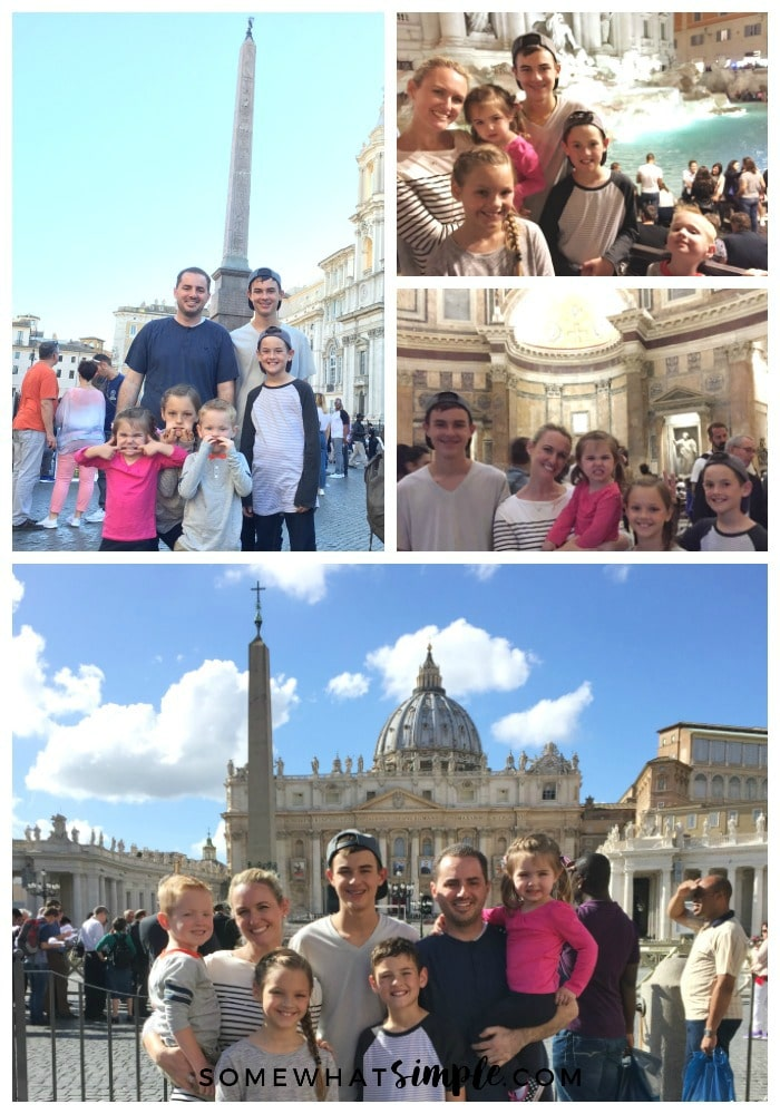 a collage of pictures showing things to see and do in Rome including a father with his five kids in the Piazza Navona, a beautiful woman with her five children in front of the Trevi Fountain at night, a gorgeous woman with her five kids inside the Pantheon of Rome, a family of seven in St. Peter's square standing in front of St. Peter's Basilica